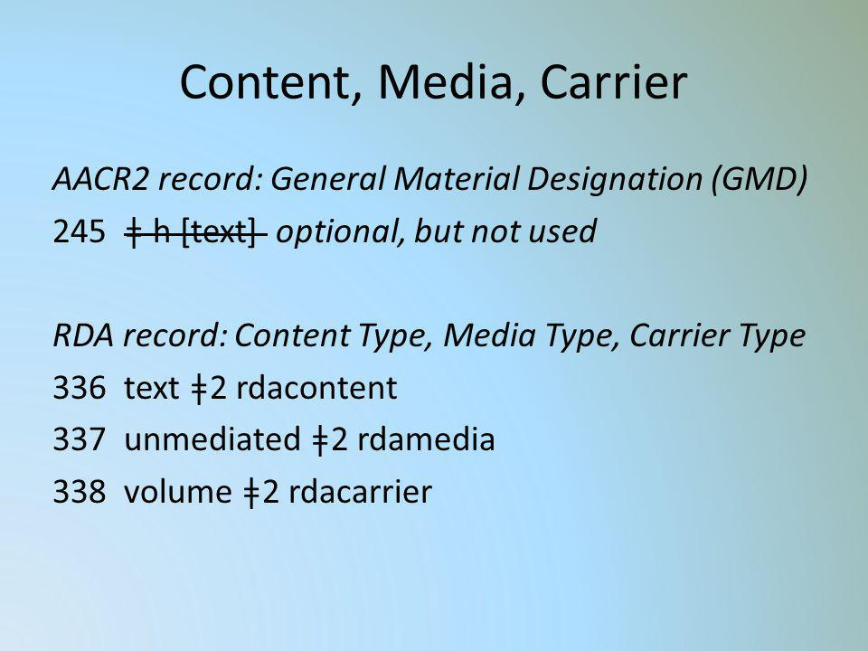 Content, Media, Carrier AACR2 record: General Material Designation (GMD) ǂ h [text] optional, but not used.